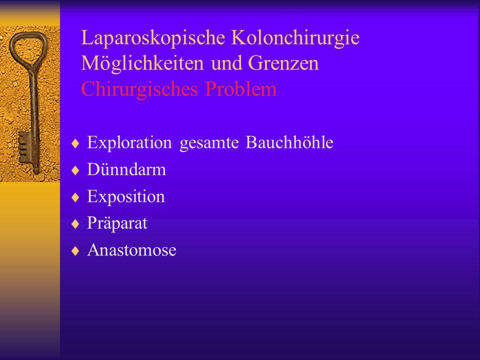 Laparoskopische Kolonchirurgie Möglichkeiten und Grenzen Chirurgisches Problem  Exploration gesamte Bauchhöhle  Dünndarm  Exposition  Präparat  Anastomose