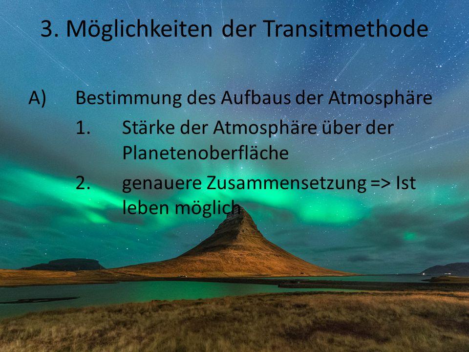 3. Möglichkeiten der Transitmethode A)Bestimmung des Aufbaus der Atmosphäre 1.Stärke der Atmosphäre über der Planetenoberfläche 2.genauere Zusammenset
