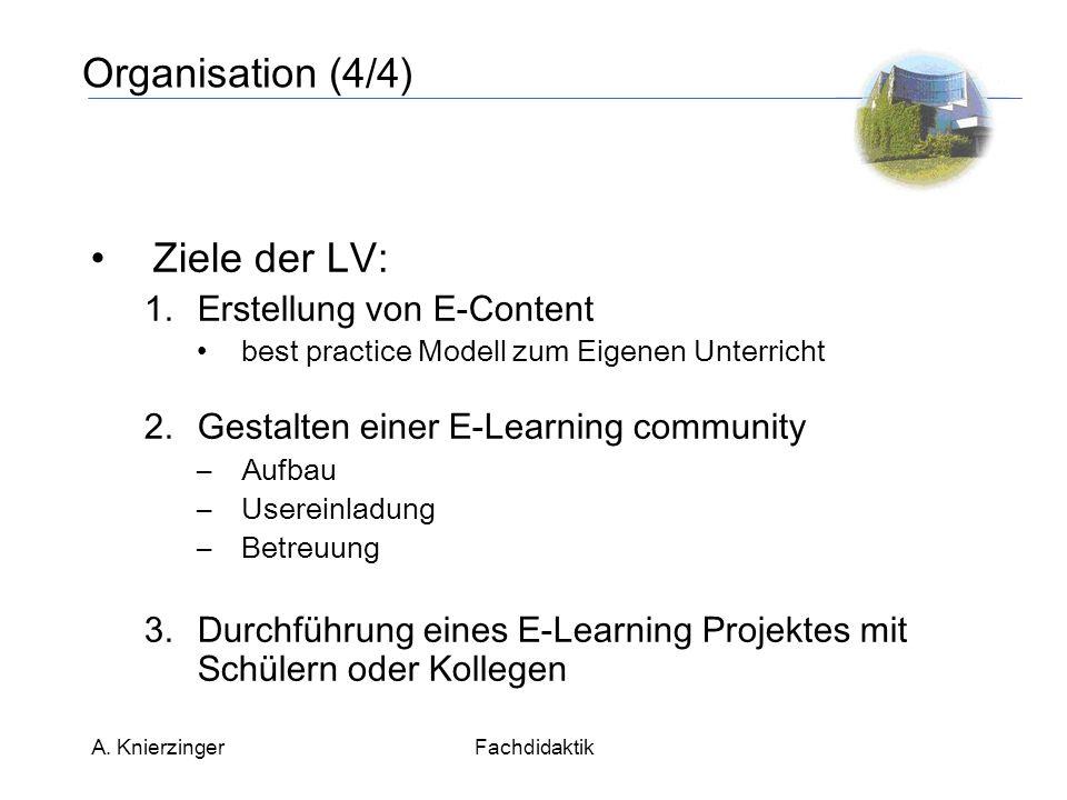 A. KnierzingerFachdidaktik E-Learning Begründung, Effekte, Chancen, Probleme