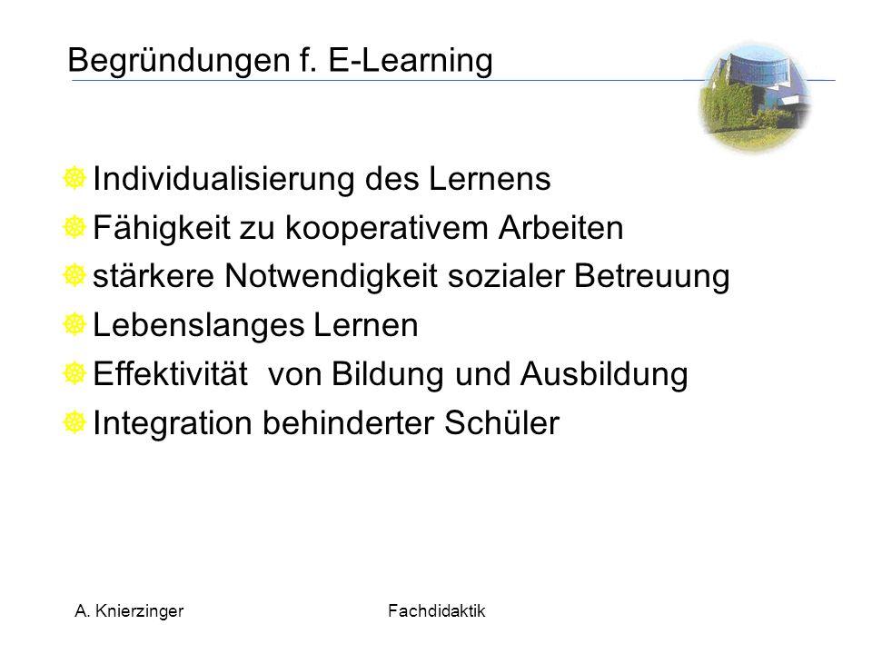 A. KnierzingerFachdidaktik Begründungen f.