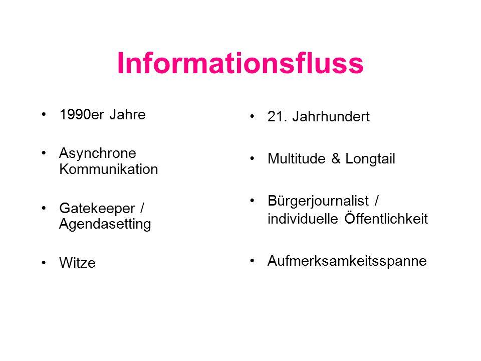 Informationsfluss 1990er Jahre Asynchrone Kommunikation Gatekeeper / Agendasetting Witze 21.