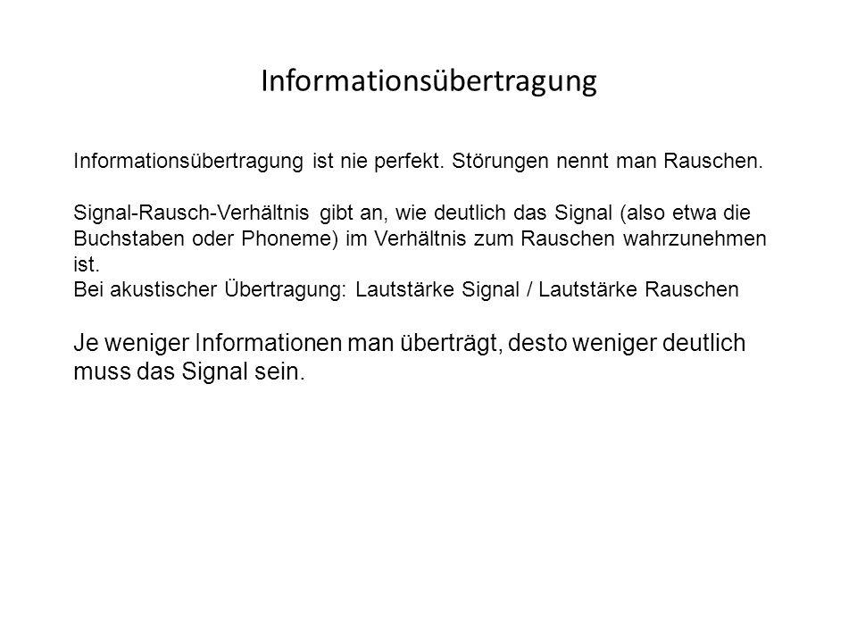 Informationsübertragung Informationsübertragung ist nie perfekt. Störungen nennt man Rauschen. Signal-Rausch-Verhältnis gibt an, wie deutlich das Sign
