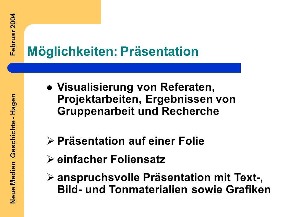 Neue Medien Geschichte - Hagen Februar 2004 Möglichkeiten: Präsentation Visualisierung von Referaten, Projektarbeiten, Ergebnissen von Gruppenarbeit und Recherche  Präsentation auf einer Folie  einfacher Foliensatz  anspruchsvolle Präsentation mit Text-, Bild- und Tonmaterialien sowie Grafiken