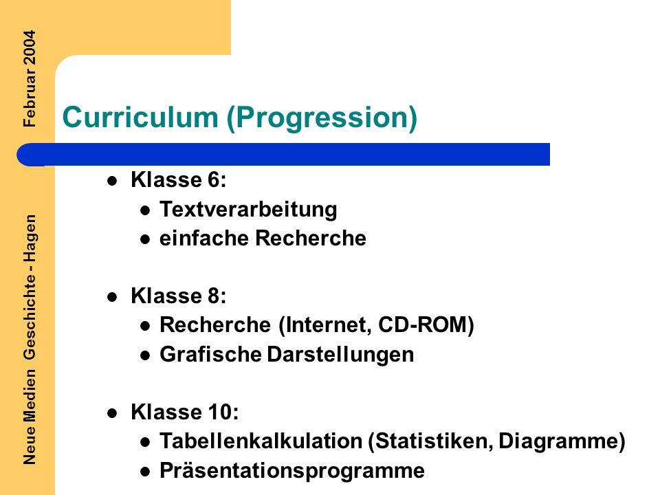 Neue Medien Geschichte - Hagen Februar 2004 Curriculum (Progression) Klasse 6: Textverarbeitung einfache Recherche Klasse 8: Recherche (Internet, CD-ROM) Grafische Darstellungen Klasse 10: Tabellenkalkulation (Statistiken, Diagramme) Präsentationsprogramme