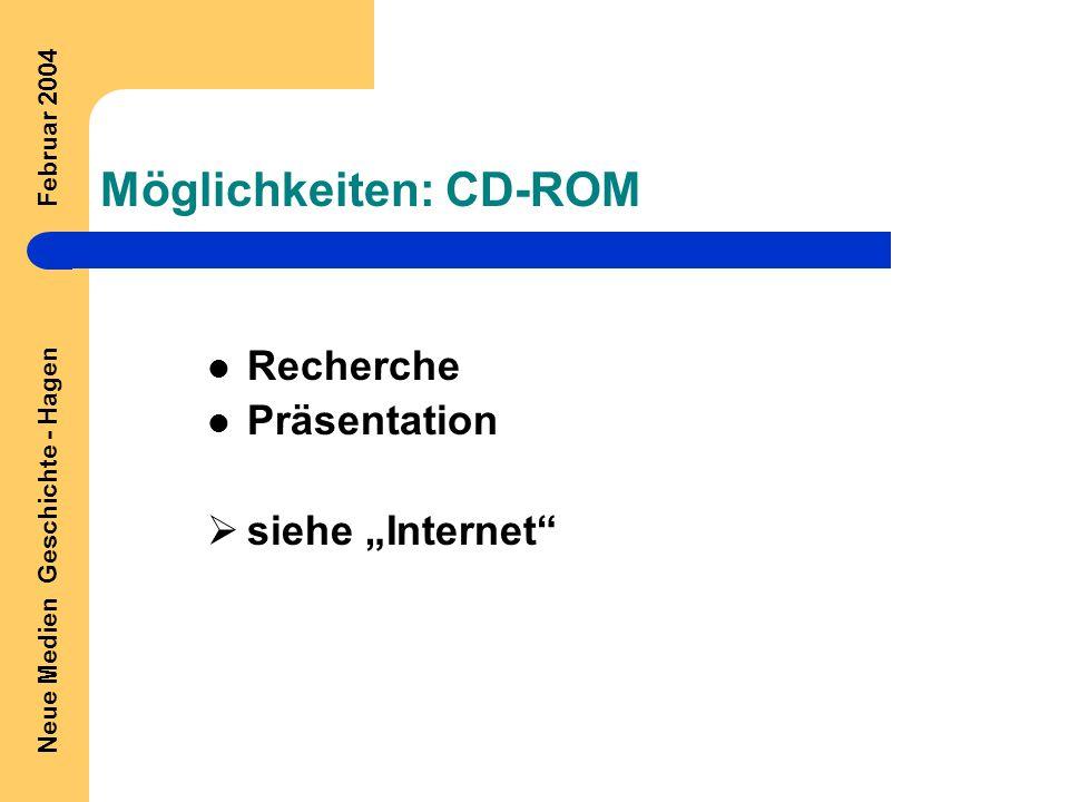 """Neue Medien Geschichte - Hagen Februar 2004 Möglichkeiten: CD-ROM Recherche Präsentation  siehe """"Internet"""