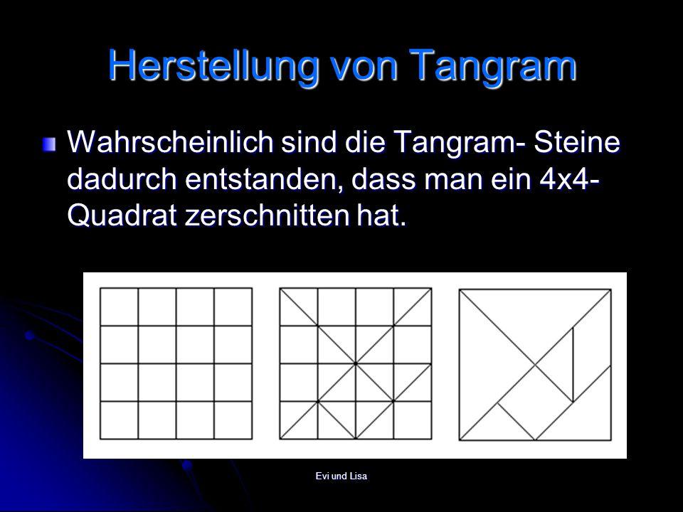 Evi und Lisa Herstellung von Tangram Wahrscheinlich sind die Tangram- Steine dadurch entstanden, dass man ein 4x4- Quadrat zerschnitten hat.