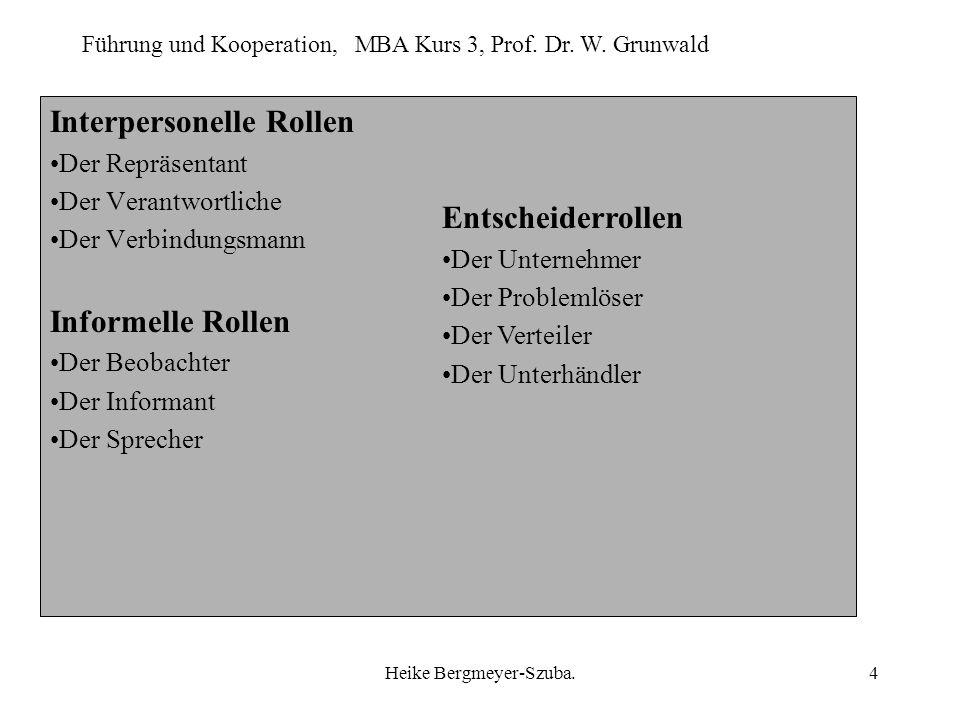 Führung und Kooperation, MBA Kurs 3, Prof. Dr. W. Grunwald Heike Bergmeyer-Szuba.4 Interpersonelle Rollen Der Repräsentant Der Verantwortliche Der Ver