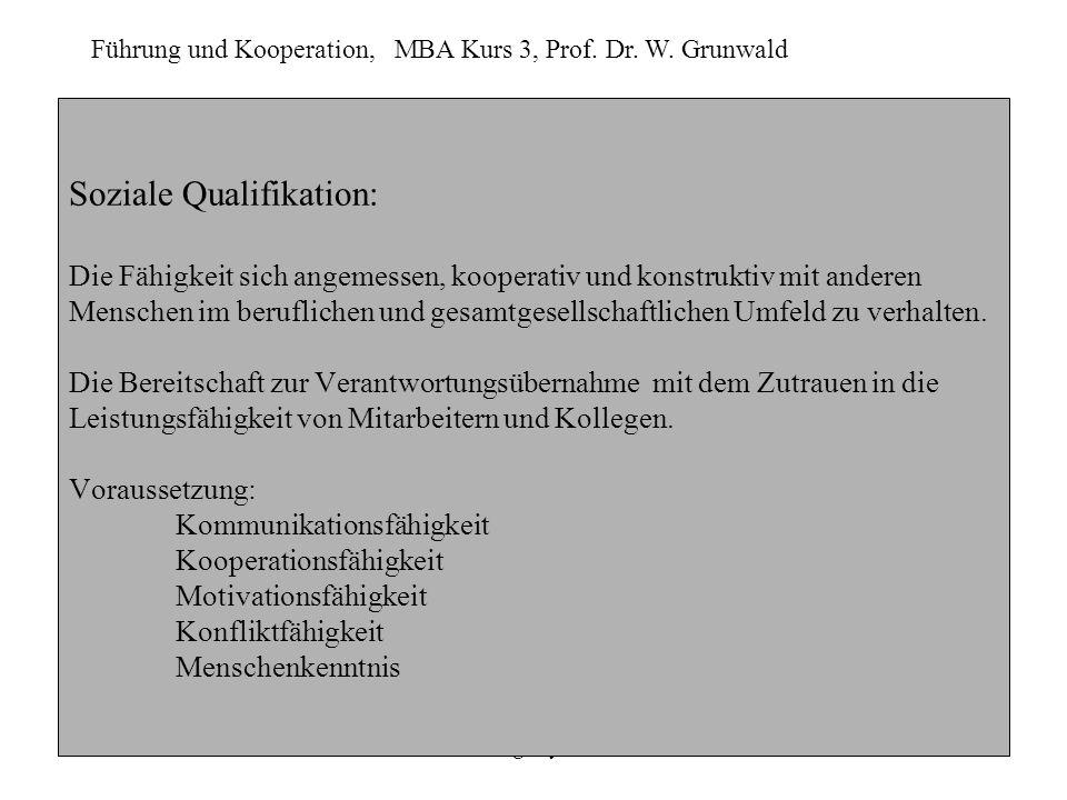 Führung und Kooperation, MBA Kurs 3, Prof. Dr. W. Grunwald Heike Bergmeyer-Szuba.6 Soziale Qualifikation: Die Fähigkeit sich angemessen, kooperativ un