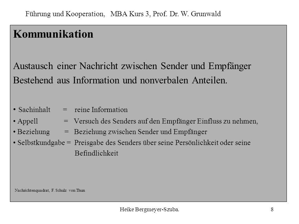 Führung und Kooperation, MBA Kurs 3, Prof. Dr. W. Grunwald Heike Bergmeyer-Szuba.8 Kommunikation Austausch einer Nachricht zwischen Sender und Empfäng