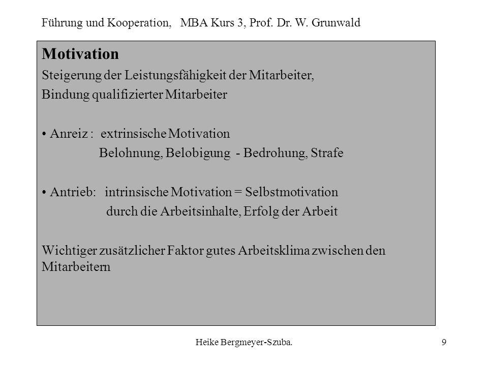 Führung und Kooperation, MBA Kurs 3, Prof. Dr. W. Grunwald Heike Bergmeyer-Szuba.9 Motivation Steigerung der Leistungsfähigkeit der Mitarbeiter, Bindu