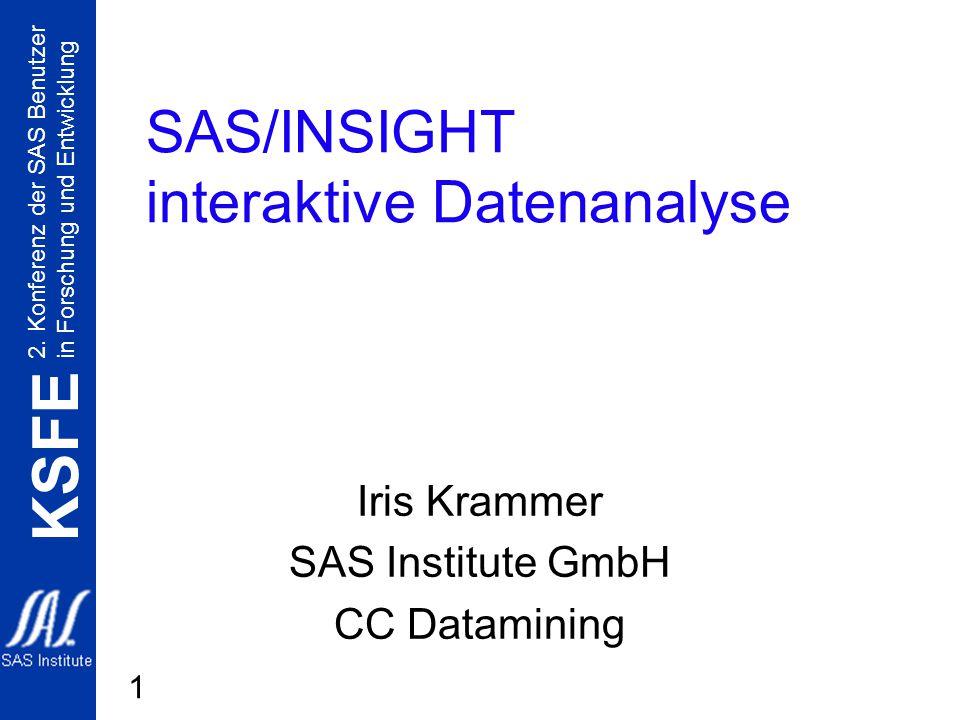 2. Konferenz der SAS Benutzer in Forschung und Entwicklung KSFE 1 SAS/INSIGHT interaktive Datenanalyse Iris Krammer SAS Institute GmbH CC Datamining