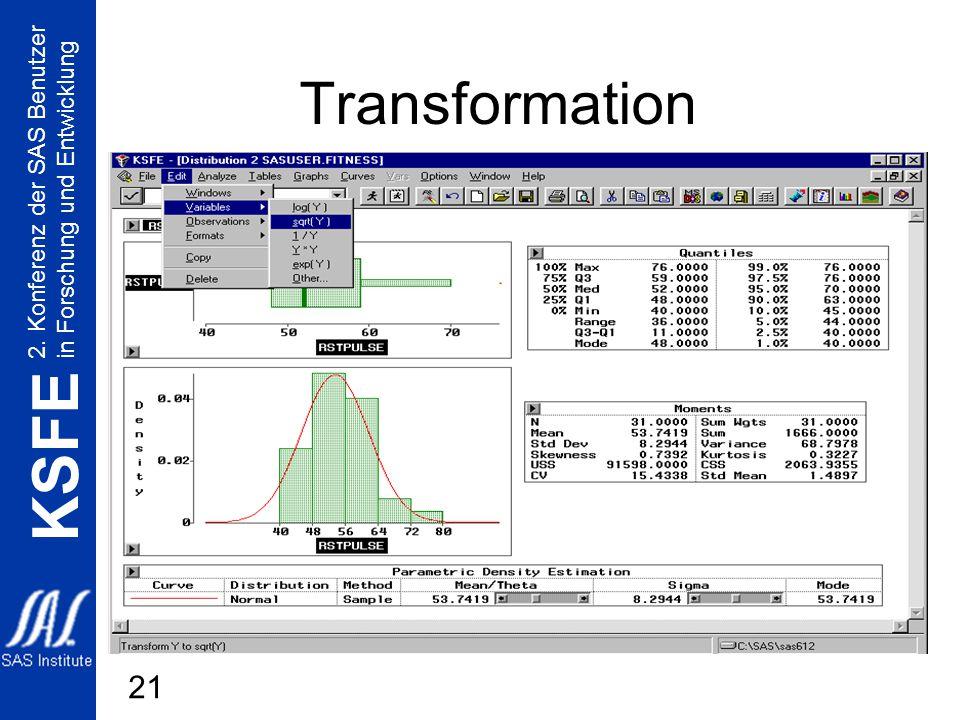 2. Konferenz der SAS Benutzer in Forschung und Entwicklung KSFE 21 Transformation