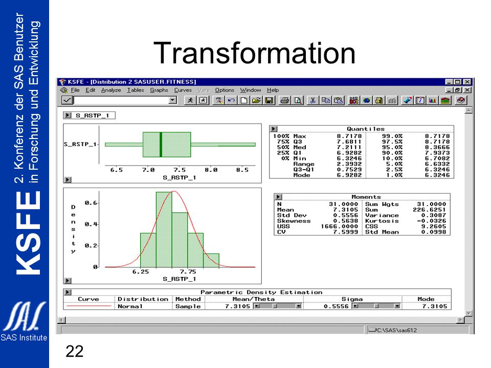 2. Konferenz der SAS Benutzer in Forschung und Entwicklung KSFE 22 Transformation
