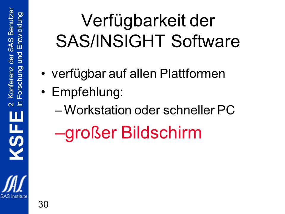2. Konferenz der SAS Benutzer in Forschung und Entwicklung KSFE 30 Verfügbarkeit der SAS/INSIGHT Software verfügbar auf allen Plattformen Empfehlung: