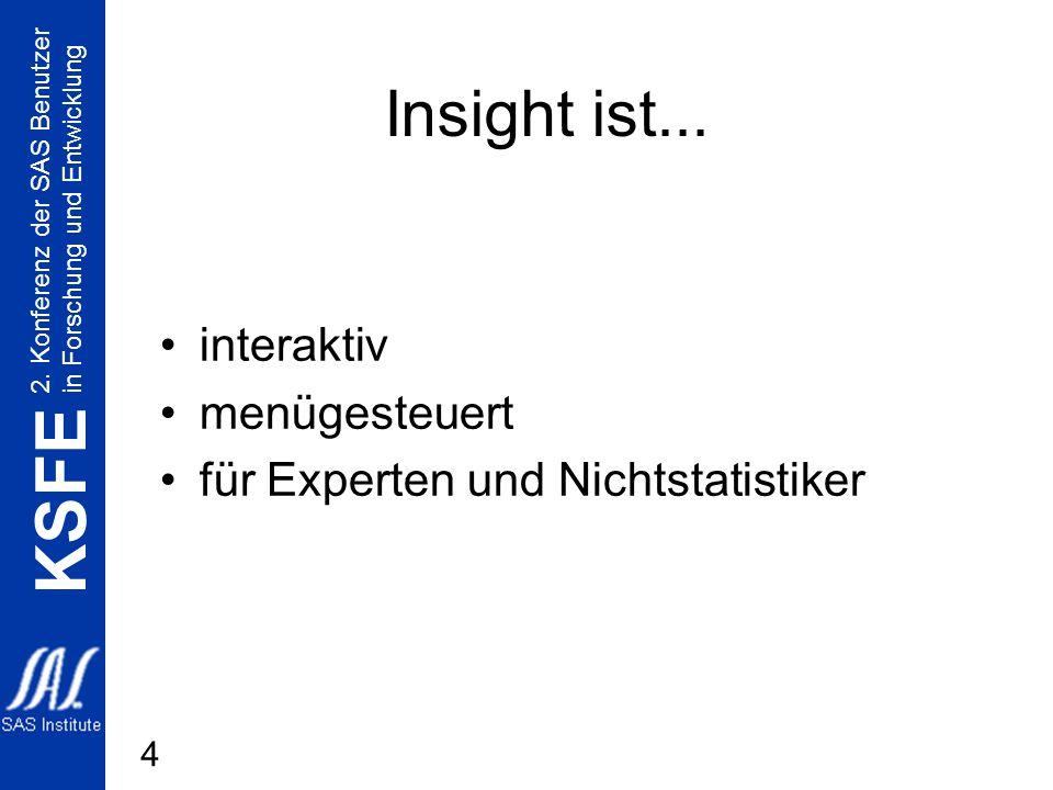 2. Konferenz der SAS Benutzer in Forschung und Entwicklung KSFE 4 Insight ist... interaktiv menügesteuert für Experten und Nichtstatistiker