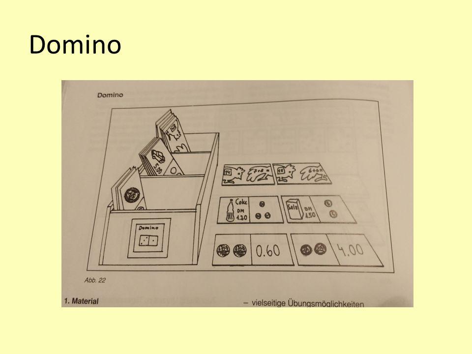 Methodische Anregungen 1 Beispiel Domino: Übungsaspekte und sonderpädagogische Hinweise: Zuordnung Menge-Zahl und umgekehrt Rechenoperationen in unterschiedlichen Zahlbereichen Übungen im Bereich Umgang mit Grössen (Uhr, Geld, Gewicht)