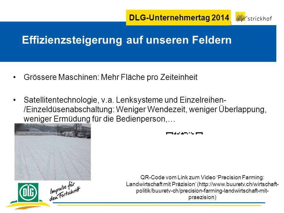DLG-Unternehmertag 2014 Effizienzsteigerung auf unseren Feldern Grössere Maschinen: Mehr Fläche pro Zeiteinheit Satellitentechnologie, v.a. Lenksystem