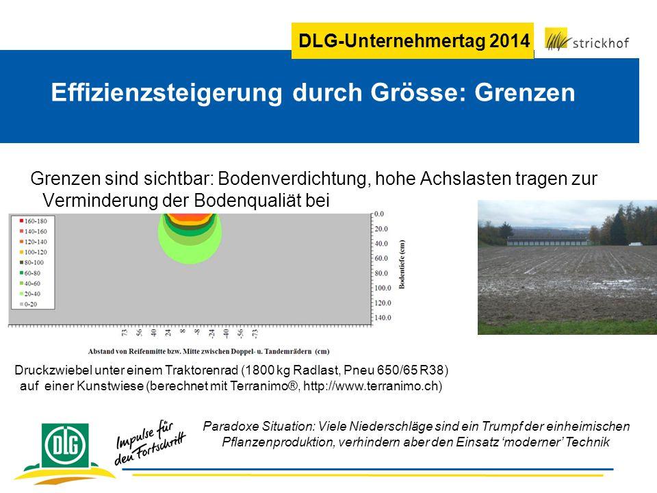 DLG-Unternehmertag 2014 Effizienzsteigerung durch Grösse: Grenzen Grenzen sind sichtbar: Bodenverdichtung, hohe Achslasten tragen zur Verminderung der