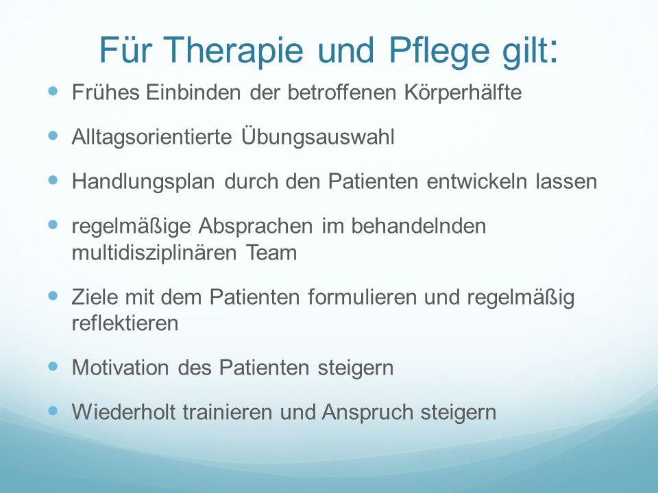 Für Therapie und Pflege gilt : Frühes Einbinden der betroffenen Körperhälfte Alltagsorientierte Übungsauswahl Handlungsplan durch den Patienten entwic