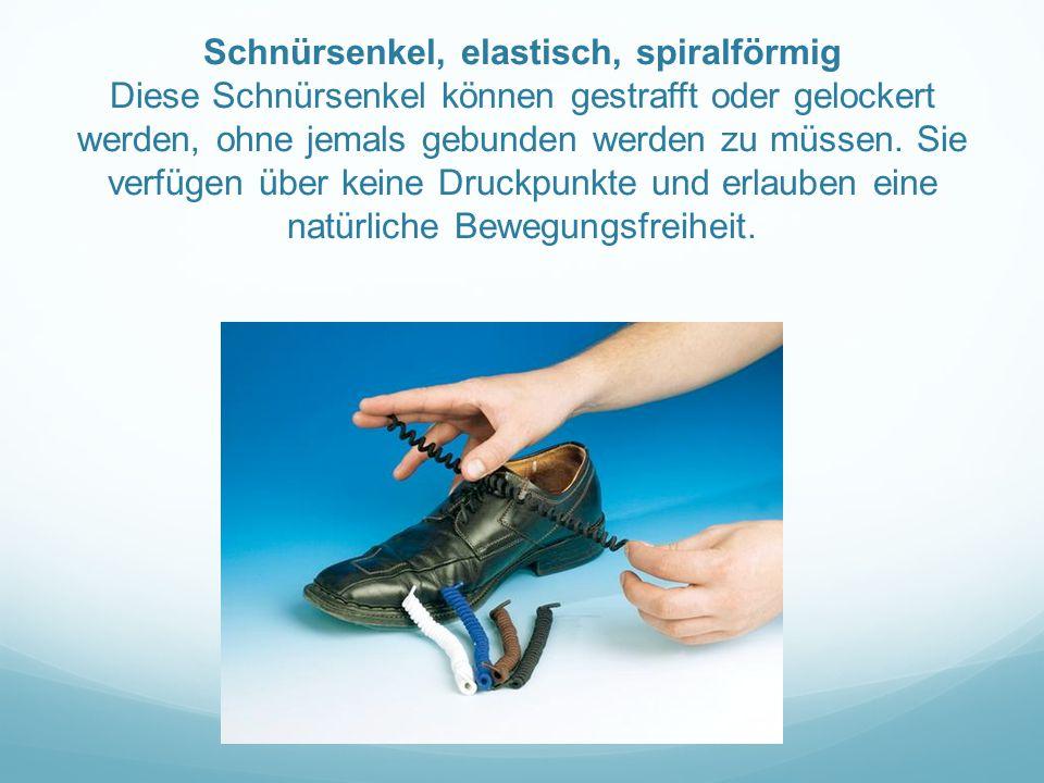 Schnürsenkel, elastisch, spiralförmig Diese Schnürsenkel können gestrafft oder gelockert werden, ohne jemals gebunden werden zu müssen. Sie verfügen ü