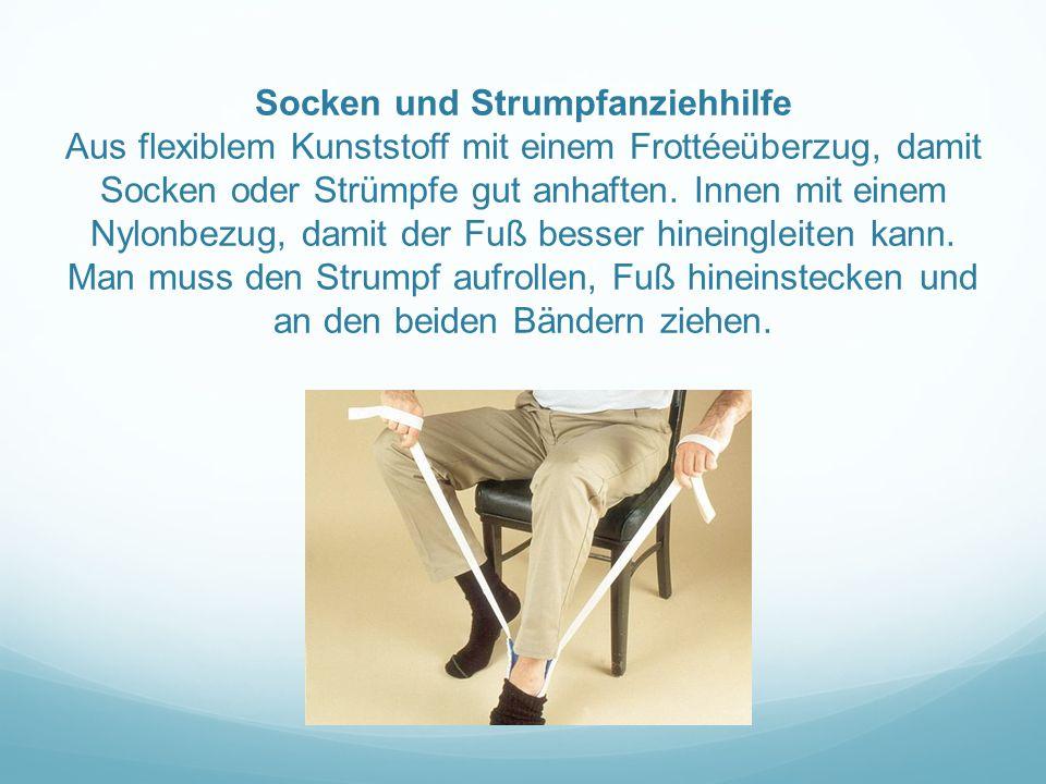 Socken und Strumpfanziehhilfe Aus flexiblem Kunststoff mit einem Frottéeüberzug, damit Socken oder Strümpfe gut anhaften. Innen mit einem Nylonbezug,