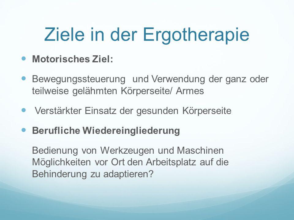 Ziele in der Ergotherapie Motorisches Ziel: Bewegungssteuerung und Verwendung der ganz oder teilweise gelähmten Körperseite/ Armes Verstärkter Einsatz