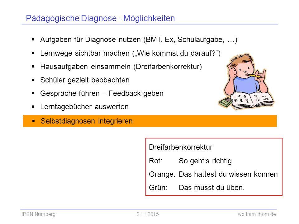"""IPSN Nürnberg21.1.2015 wolfram-thom.de Pädagogische Diagnose - Möglichkeiten  Aufgaben für Diagnose nutzen (BMT, Ex, Schulaufgabe, …)  Lernwege sichtbar machen (""""Wie kommst du darauf? )  Hausaufgaben einsammeln  Schüler gezielt beobachten  Gespräche führen – Feedback geben  Lerntagebücher auswerten  Selbstdiagnosen integrieren"""