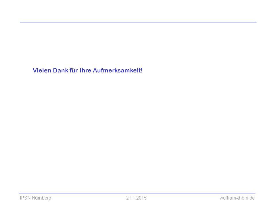 IPSN Nürnberg21.1.2015 wolfram-thom.de Vielen Dank für Ihre Aufmerksamkeit! Kaffeepause