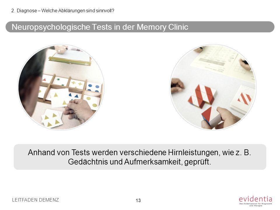 Neuropsychologische Tests in der Memory Clinic LEITFADEN DEMENZ 13 2. Diagnose – Welche Abklärungen sind sinnvoll? Anhand von Tests werden verschieden