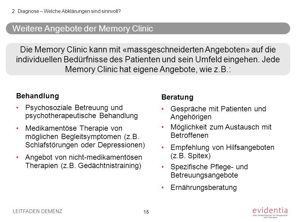 Weitere Angebote der Memory Clinic Angebot von nicht-medikamentösen Therapien (z.B. Gedächtnistraining) 2. Diagnose – Welche Abklärungen sind sinnvoll