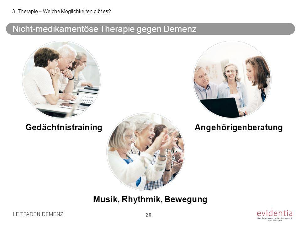Nicht-medikamentöse Therapie gegen Demenz 3. Therapie – Welche Möglichkeiten gibt es? LEITFADEN DEMENZ 20 Musik, Rhythmik, Bewegung Angehörigenberatun
