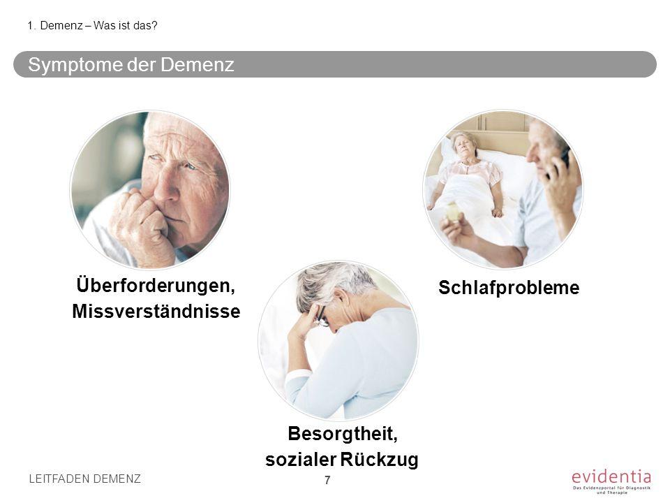 Symptome der Demenz Besorgtheit, sozialer Rückzug LEITFADEN DEMENZ 7 1. Demenz – Was ist das? Schlafprobleme Überforderungen, Missverständnisse