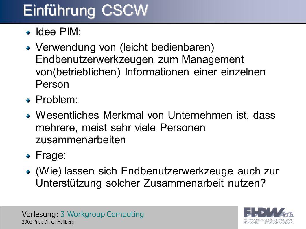Vorlesung: 4 Workgroup Computing 2003 Prof.Dr. G.