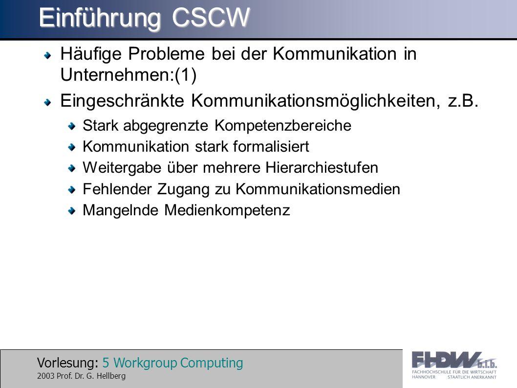 Vorlesung: 16 Workgroup Computing 2003 Prof.Dr. G.