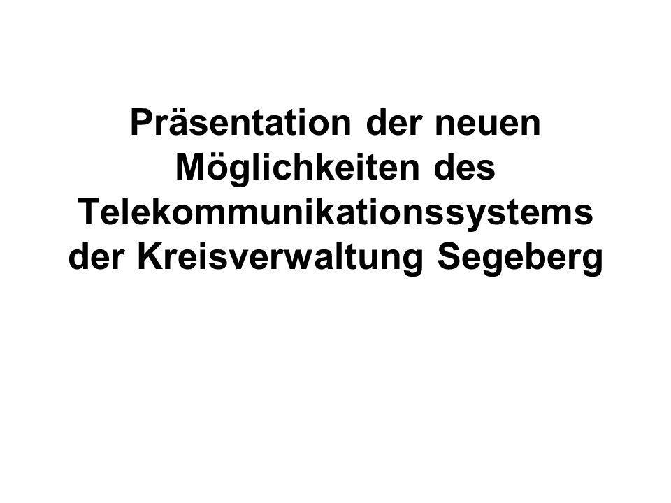 Vorteile des neuen Systems: Selbstwahl von Privatgesprächen zentral nutzbare und aktualisierbare Telefonbücher verbesserte Erreichbarkeit der einzelnen Mitarbeiter durch: Telefonanschlüsse f.