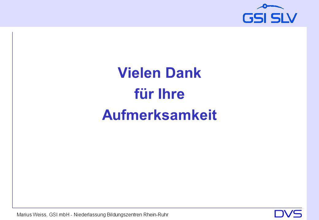 Marius Weiss, GSI mbH - Niederlassung Bildungszentren Rhein-Ruhr Vielen Dank für Ihre Aufmerksamkeit
