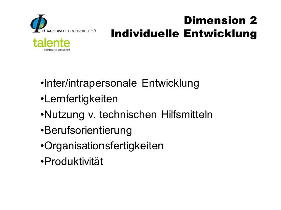Dimension 2 Individuelle Entwicklung Inter/intrapersonale Entwicklung Lernfertigkeiten Nutzung v.