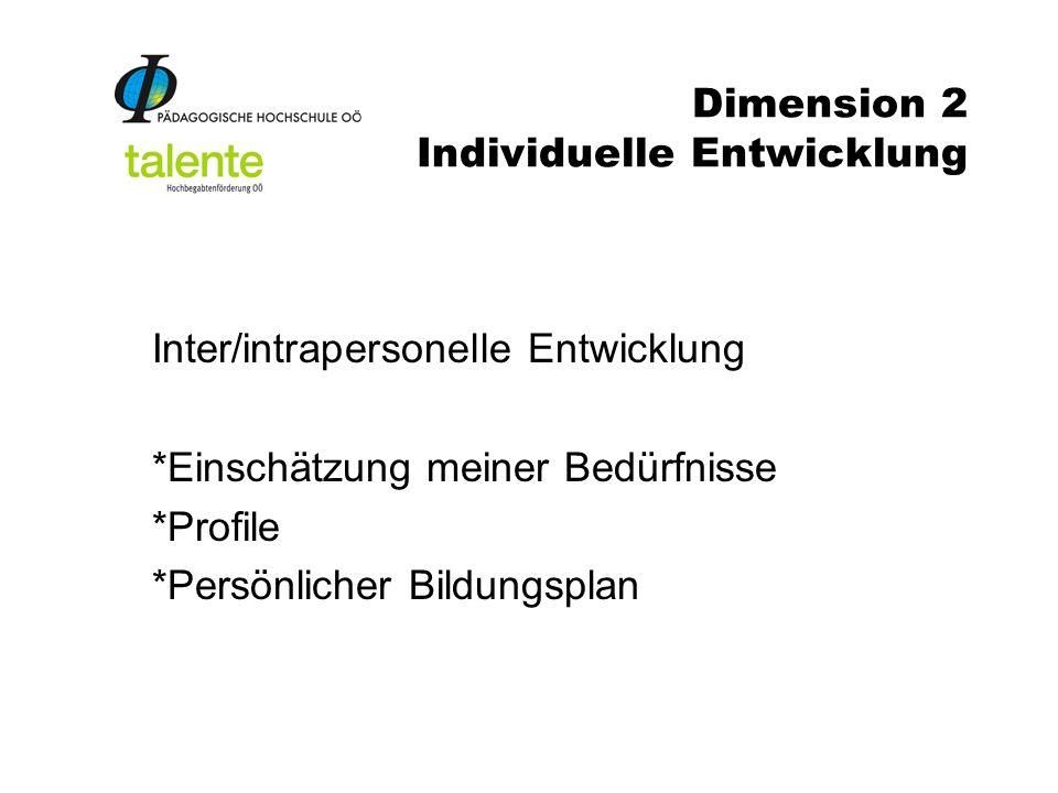Dimension 2 Individuelle Entwicklung Inter/intrapersonelle Entwicklung *Einschätzung meiner Bedürfnisse *Profile *Persönlicher Bildungsplan
