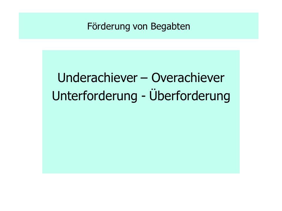 Förderung von Begabten Underachiever – Overachiever Unterforderung - Überforderung