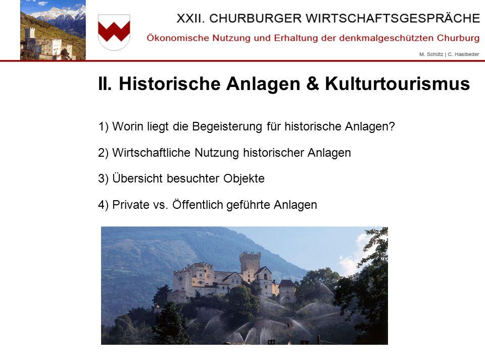 II.Historische Anlagen & Kulturtourismus 1) Worin liegt die Faszination für historische Anlagen.
