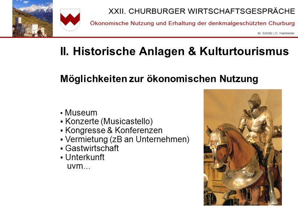II. Historische Anlagen & Kulturtourismus Möglichkeiten zur ökonomischen Nutzung Museum Konzerte (Musicastello) Kongresse & Konferenzen Vermietung (zB