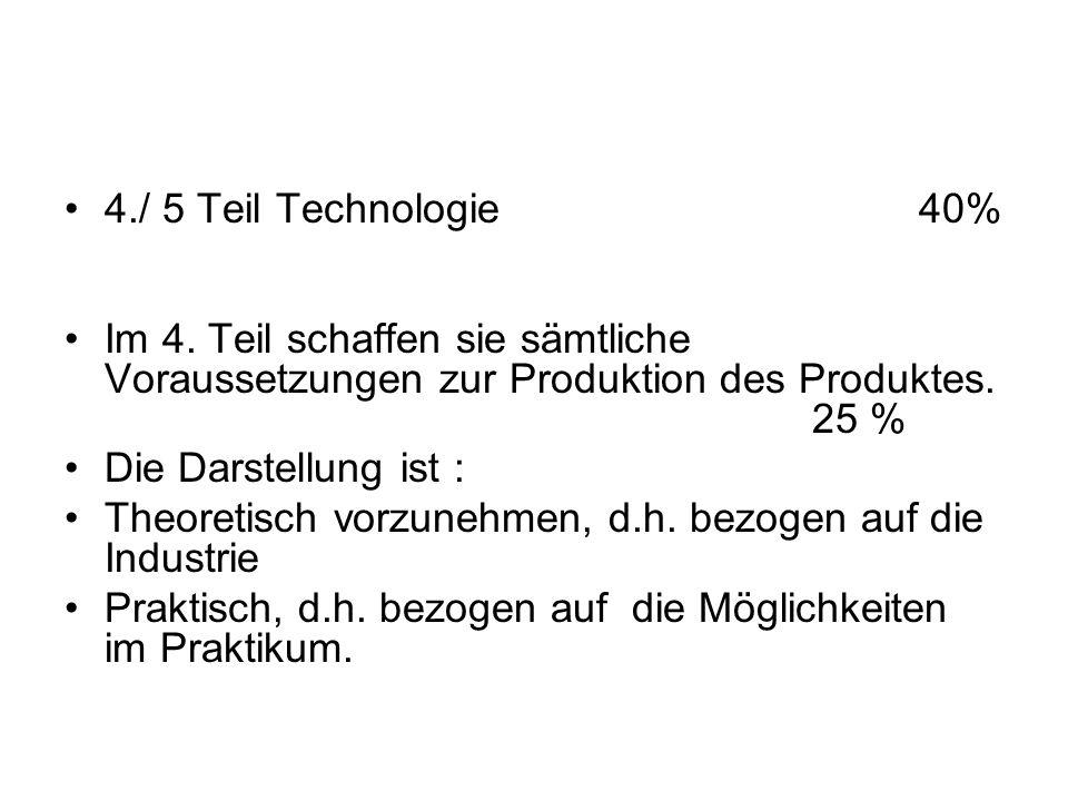 4./ 5 Teil Technologie 40% Im 4. Teil schaffen sie sämtliche Voraussetzungen zur Produktion des Produktes. 25 % Die Darstellung ist : Theoretisch vorz