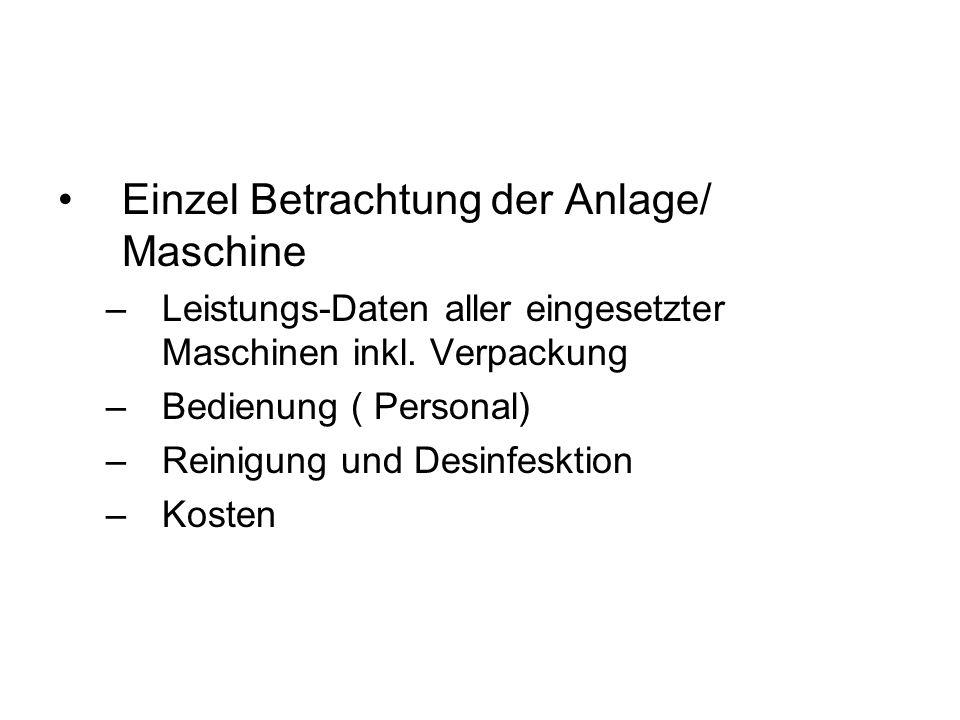 Einzel Betrachtung der Anlage/ Maschine –Leistungs-Daten aller eingesetzter Maschinen inkl. Verpackung –Bedienung ( Personal) –Reinigung und Desinfesk