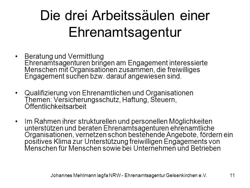 Johannes Mehlmann lagfa NRW - Ehrenamtsagentur Gelsenkirchen e.V. Die drei Arbeitssäulen einer Ehrenamtsagentur Beratung und Vermittlung Ehrenamtsagen