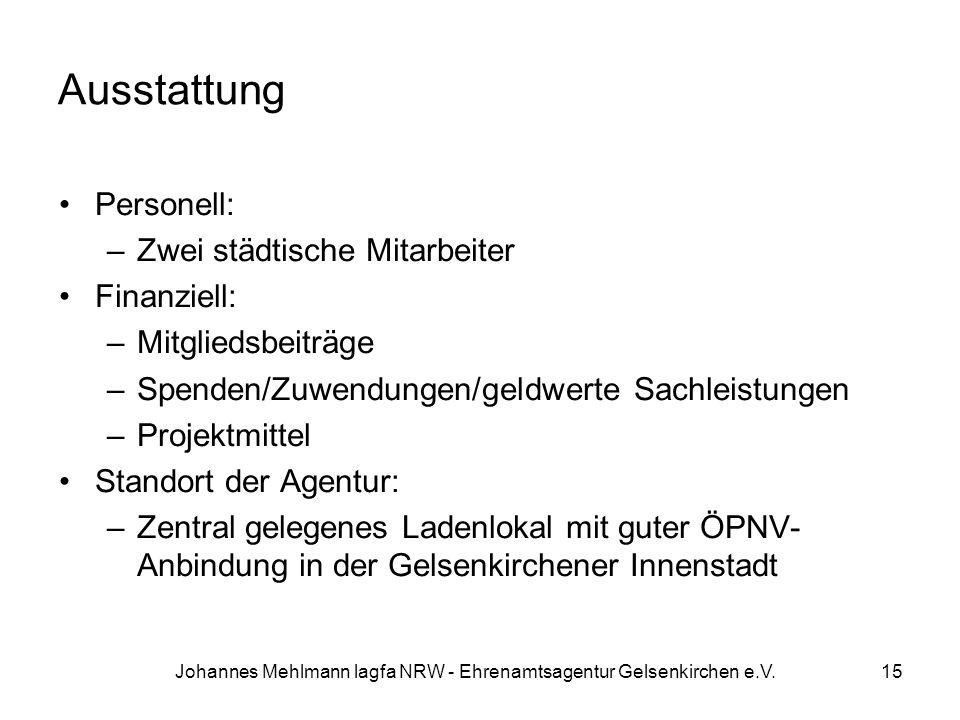 Johannes Mehlmann lagfa NRW - Ehrenamtsagentur Gelsenkirchen e.V. Ausstattung Personell: –Zwei städtische Mitarbeiter Finanziell: –Mitgliedsbeiträge –