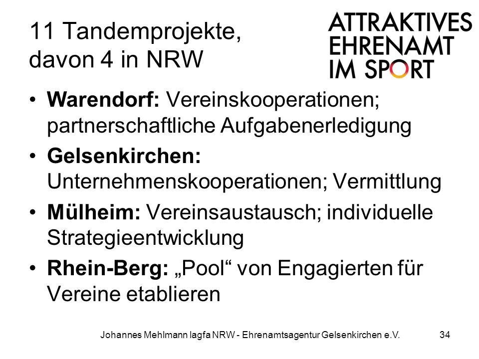11 Tandemprojekte, davon 4 in NRW Warendorf: Vereinskooperationen; partnerschaftliche Aufgabenerledigung Gelsenkirchen: Unternehmenskooperationen; Ver
