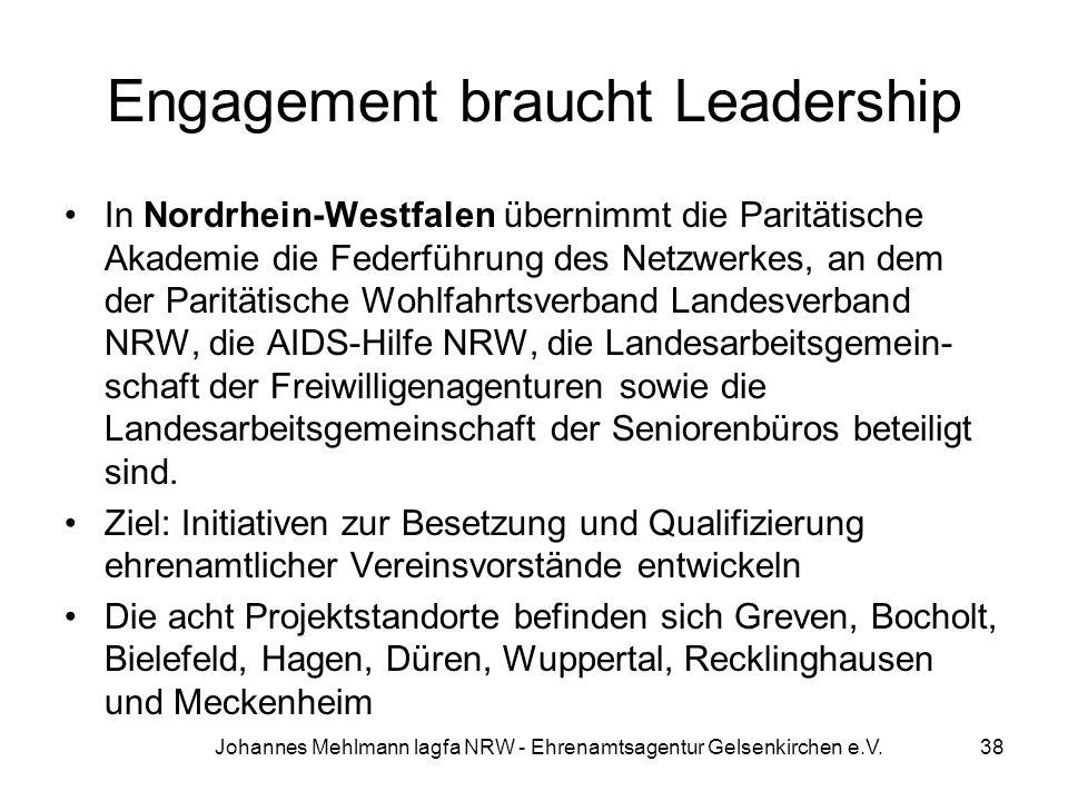 Engagement braucht Leadership In Nordrhein-Westfalen übernimmt die Paritätische Akademie die Federführung des Netzwerkes, an dem der Paritätische Wohl