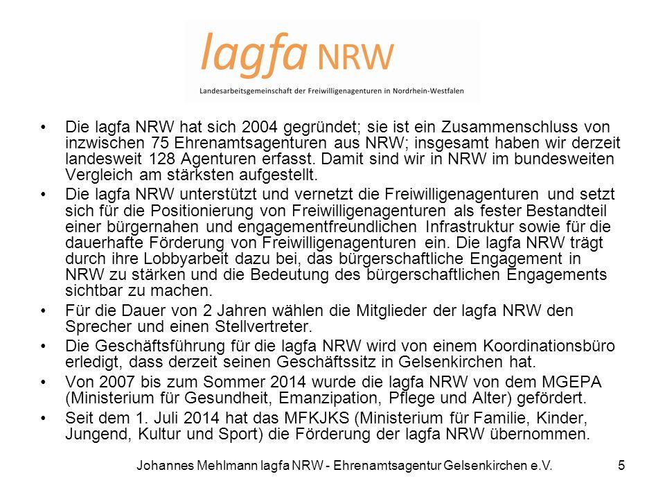 Die lagfa NRW hat sich 2004 gegründet; sie ist ein Zusammenschluss von inzwischen 75 Ehrenamtsagenturen aus NRW; insgesamt haben wir derzeit landeswei