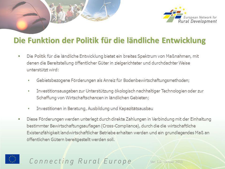 Die Funktion der Politik für die ländliche Entwicklung  Die Politik f ü r die l ä ndliche Entwicklung bietet ein breites Spektrum von Ma ß nahmen, mi