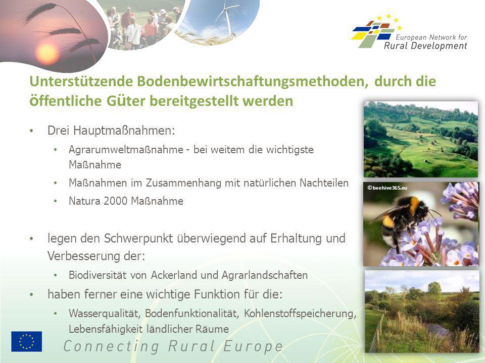 Unterstützende Bodenbewirtschaftungsmethoden, durch die ö ffentliche G ü ter bereitgestellt werden Drei Hauptmaßnahmen: Agrarumweltma ß nahme - bei we
